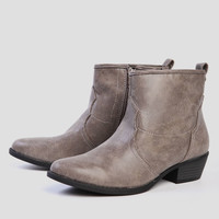 Tara Distressed Booties In Taupe