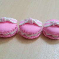 3 pcs Light Pink Round Macarons Cabochon Flatbacks 22 x 22 mm