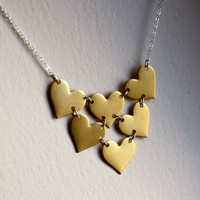 Handmade Heart Bib Necklace Brass and by RachelPfefferDesigns