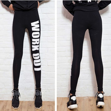 New Work Out Print Black Soft Cotton Leggings Tights Pants (Color: Black) = 1932698884