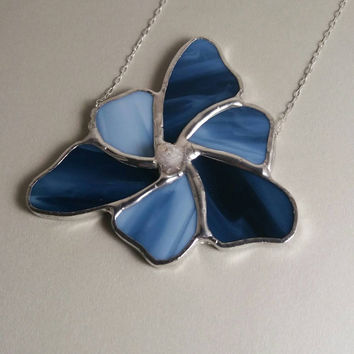 Blue Flower with Raw Crystal Point Center, Stained Glass Necklace, Stained Glass Jewelry, Unique Statement Necklace, Hip Chick Glass