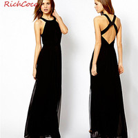 halter Cross-back Chiffon Maxi Dress