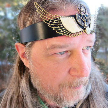 Isis Egyptian Goddess Headpiece, Unisex Ritual Crown, Mens Leather Headband, Burning Man, Ready to Ship