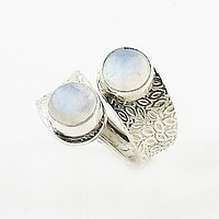 Moonstone Sterling Silver Leaf Pattern Adjustable Ring