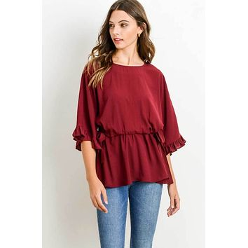 Side Tie Peplum Top