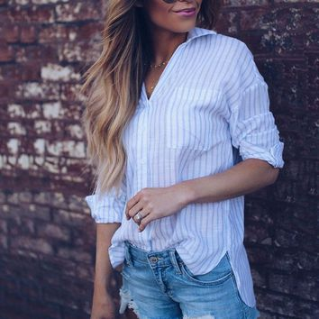 Ladies Casual Striped Blouse