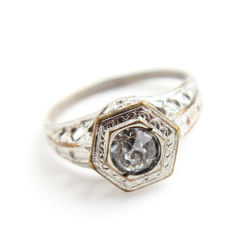 Antique Art Deco Silver Tone Rhinestone Ring -  Vintage Size 4 3/4 Clear Glass Faux Diamond Costume Jewelry / Open Filigree