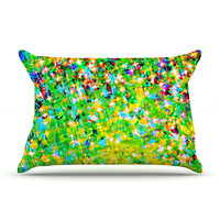 "Ebi Emporium ""Holiday Cheer"" Yellow Green Pillow Case"