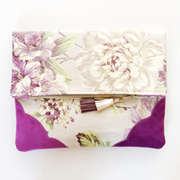 FLORIST 30 / Floral cotton & Natural leather folded clutch - Ready to Ship