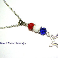 4th of July Necklace Patriotic Americana Artisan Jewelry Patriot Independence Day Red White Blue Star Summer Accessory Star Charm Necklace