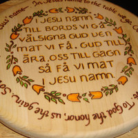 "Wood Burned Swedish Table Grace ""I Jesu Namn"" Decorative Serving Board"