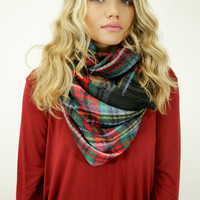 Norfolk Black Tartan Plaid Infinity Scarf