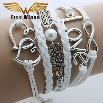 Bracelet Men Anchor leather Infinity bracelets for women Wings Owl Bohemian Jewelry wrap snaps bracelet
