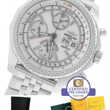 Breitling Bentley GT Day-Date Chronograph White Stainless A13362 44.8mm Watch