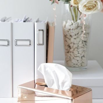Bless You tissue box case in rose gold Produced By SHOWPO