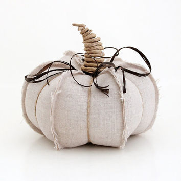 Countryside Rustic Natural Linen Pumpkin, Autumn Harvest, Fall Decor