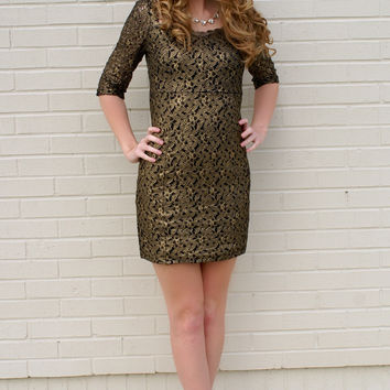 Golden Dreams Dress: Gold