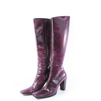 90s Vintage Purple Snake Skin Tall Leather Boots High Heel Club Kid Rave Retro Shoes Womens Size US 7.5 UK 5.5 EUR 38