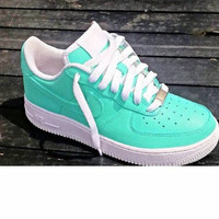 SeamFoam Green Lowz Nike Air Force Ones Custom Hand Painted Authentic Nikes
