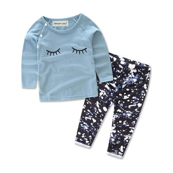 T-shirt Tops Long Sleeve + Pants 2PC Set Baby Girl Costume Toddler Kid Baby Girls Clothes Set Autumn Outfits Clothes