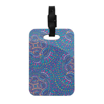 "Miranda Mol ""Kaleidoscopic Blue"" Blue Geometric Decorative Luggage Tag"