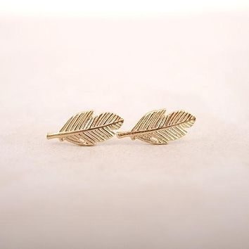 Jisensp Fashion Feather Earrings for Women collier femme Leaf Earrings Small Vintage Stud Earrings Party Gifts brincos 2017 E038