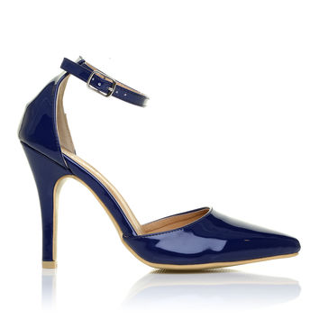NEW YORK Navy Blue Patent Patent Ankle Strap Pointed High Heel Court Shoes