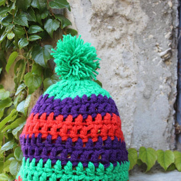 Beanie Hand Knit , Kids and toddler hat with Pom Pom, Unisex Ski Hat, Mens Wool Hat, Customize the colour Colours
