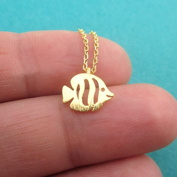 Butterfly Angelfish Fish Shaped Tropical Marine Reef Fish Pendant Necklace