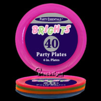 N64090 - Assorted Neon Blacklight Reactive 6 Inch Sturdy Plastic Party Plates - 40 pack