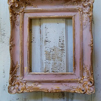 Shabby cottage distressed wood pink frame soft muted colors gold accent wall decor Anita Spero