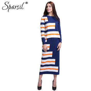 Women Cashmere Blend Striped O-Neck Pullover Sweater +Long Skirt Lady Casual Knitted Sweaters