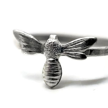 Large Silver Bumblebee Ring, Sterling Silver Insect Ring, Honey Bee Ring,