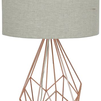 "Crystal Art 135731 24"" Rose Gold Metal Cage Table lamp"