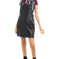 Vintage Y2K Leather Mini Overall Dress - XS/S
