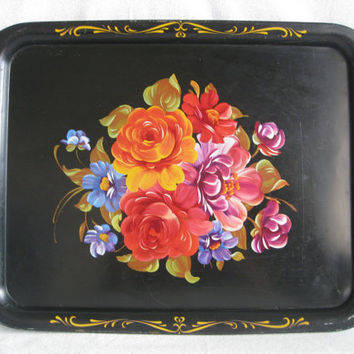 "Large black tin tray/vintage floral serving tray/metal flower tray/17 1/2"" x 12 7/8"""