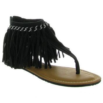 Flirting With Fringe Sandals - Chocolate Brown