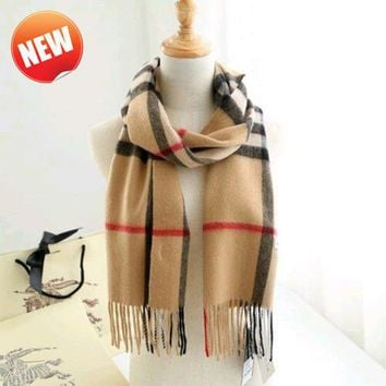 NTW BURBERRY Women's classic style Check 100% Cashmere Scarf & free ship