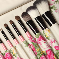 12 Piece Professional Makeup Brush Tool Set with Floral Storage Pouch