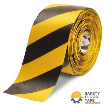 """6"""" Yellow Tape with Black Chevrons - 100'  Roll"""