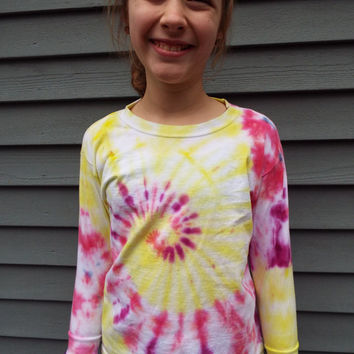 Little Girls Long Sleeve Tie-Dye TShirt in Pink and Yellow, Kids Small TieDye Shirt, Hippie Girl, Boho Kids, Hand-dyed Long sleeve tee