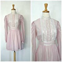 1970s Gunne Sax Dress / boho mini dress / babydoll / pink ruffled dress / hippie wedding / prairie dress / holiday party / small