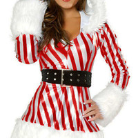 Red Candy Cane Furry Hooded Long Sleeve Mini Dress Costume