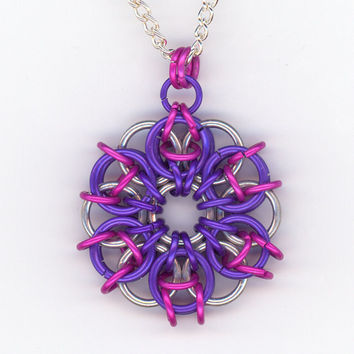 Pink Purple Silver Celtic Star Chainmaille Pendant by Lehane