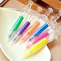 Lemonc 6pc Syringe Highlighter Pens with 6 Colors