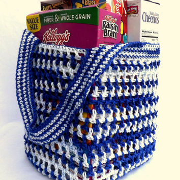 Reusable Grocery Bag - Blue and White farmers market tote - beach tote - soccer bag - activity bag - daycare bag - housewarming gift