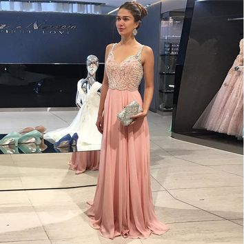 Blush Pink Sweetheart Party Dress Chiffon Long Prom Gown With Beaded Bodice