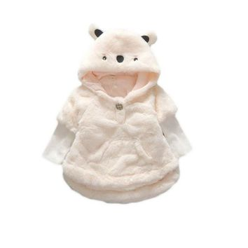 Hooded Bear Ears Princess Kid Coat Faux Fur Baby Girls Outwear Children Warm Winter Outfits Clothes Coats