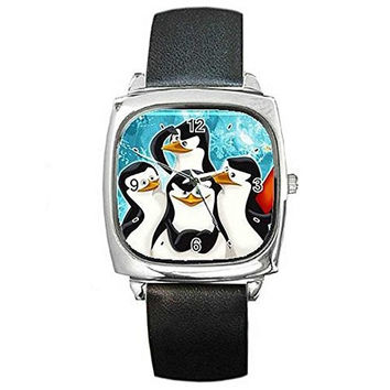 Christmas Penguins of Madagasgar on a Silver Square Watch with Leather Band