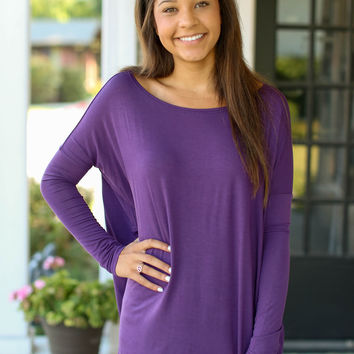 Long Sleeve Piko Top - Plum